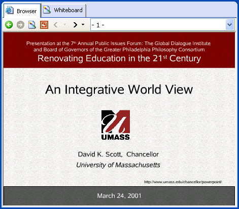 iVocalize embedded browser showing the first slide in the presentation