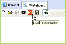 Load a PowerPoint or OpenDocument presentation from the iVocalize integrated whiteboard
